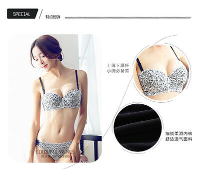 2017 Women Sexy Underwire Padded Up Embroidery Lace Bra 32-38B Brassiere Bra Set