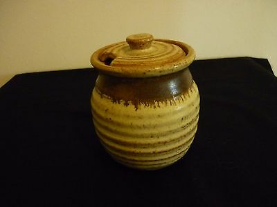 A Vintage Rath Studio Pottery Stoneware Jam Pot With Lid - Ireland