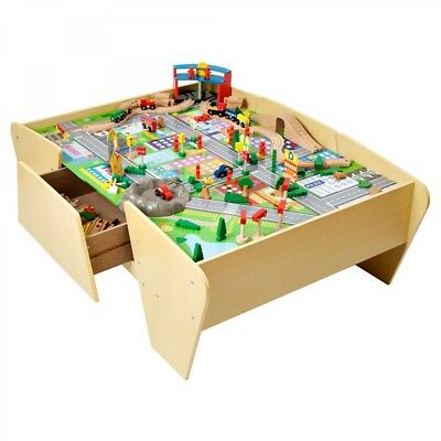 NEW Plum Wooden Train & Track Play Table MDF Timber Indoor Role Pretend Kids Toy