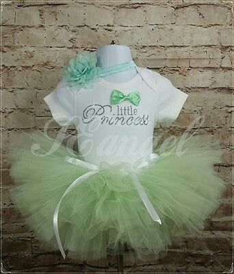 AH baby girl PRINCESS outfit vest +headband+tutu 9-12m diamantes baby gift mint