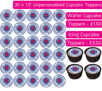 30 Glasgow Rangers Football Team Edible Wafer & Icing Cupcakes Toppers Club Fc