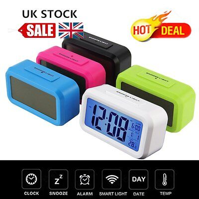 Digital LCD Snooze Electronic Alarm Clock with LED Backlight Light Control OL
