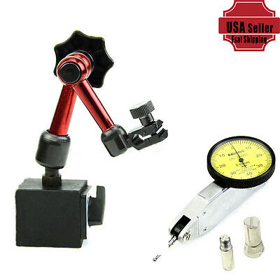 Flexible Magnetic Base Holder Stand + Dial Test Indicator Gauge Scale Precision