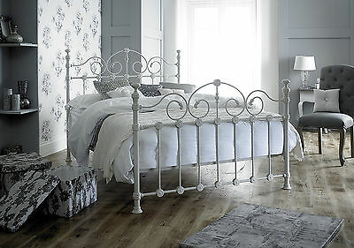 Victorian French Style Double 4ft 6 Cream Metal Bed Frame Shabby Chic Antique