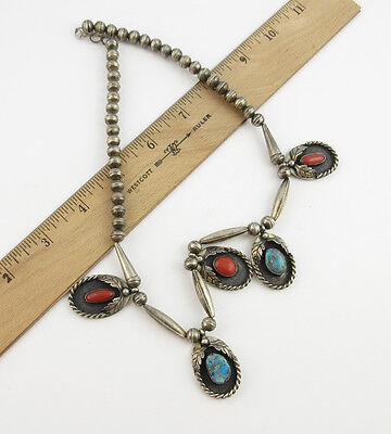 Vintage Southwestern Sterling Silver Turquoise & Red Coral Necklace