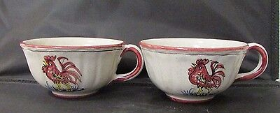 (2) Peasant Valley Pv Italy Pottery Red Rooster Mugs Hand Painted & Signed