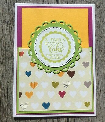 Teen Happy Birthday Handmade Greeting Card Its not a Party w/o Cake