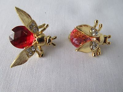 Lot of 2 Bee Fly Pin Brooch Red & Pink Jelly Belly w/ Trembler Wings Clear Rhine
