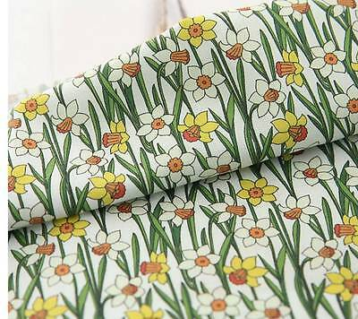 Narcissus Daffodil Flower Patterned Fabric made in Korea By the Yard