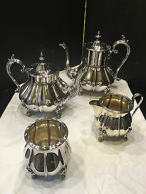 Sheffield England Silverplate Coffee & Tea Karafes with Sugar Bowl/Cremer