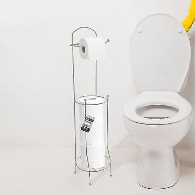 New Free Standing Chrome Toilet Roll Holder Tissue Paper Storage Dispenser Stand