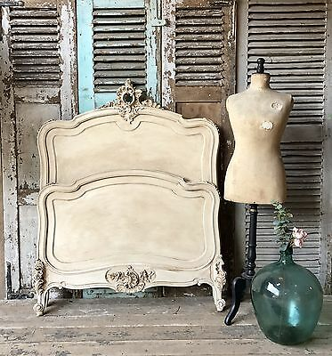 Vintage French hand painted Louis XV bed frame