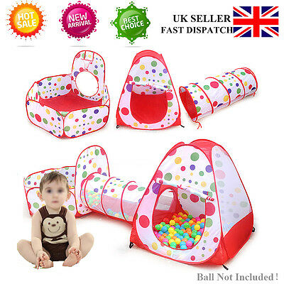 Kids Baby Tent Play Tunnel Ball Pool Pop Up Playhouse In/Outdoor Toy UK Delivery