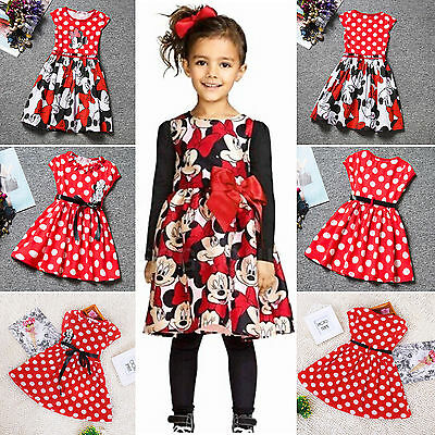 Baby Girls Kids Toddler Minnie Mouse Cartoon Mini Dresses Party Bow Costume 2-7Y