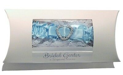 Blue Garter and Lucky Sixpence Bride Gift in Box Pillow Display Wedding
