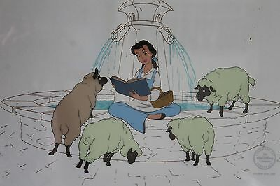 Beauty and the Beast Serigraph Cel BELLE AT THE FOUNTAIN