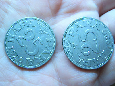 Lot Of 2 Yugoslavia Para 25 Coins 1920