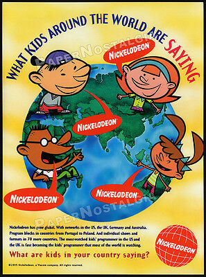 NICKELODEON - Around The World__Orig. 1995 Trade print AD promo__Global Kids__TV