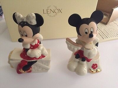 "New Mickey And Minnie Lenox Salt And Pepper Set ""Picnic Pals"""