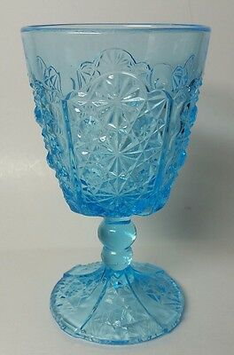 "L.g. Wright ""daisy & Button"" Ice Blue 6"" Water Goblet - Excellent - 2 Available"