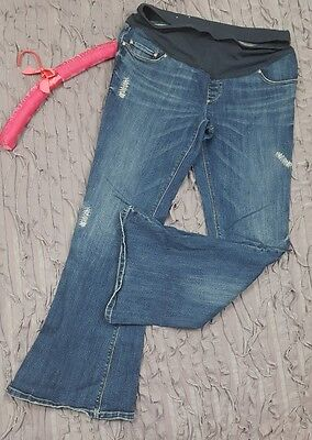 Old Navy Full Panel Flare Stretch Maternity Jeans Sz 8 Distressed Stitch (O17)