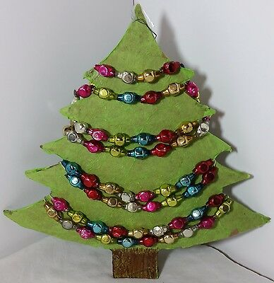 Antique 8' Mercury Glass Multi Colored Faceted Bead Christmas Garland VTG