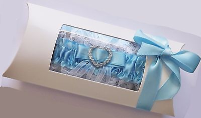 Blue Garter With White Lace In Display Box Wedding Bride To Be Bridal Gift
