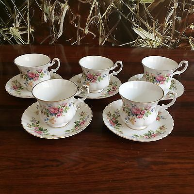 Royal Albert England MOSS ROSE - 5 Fine Coffee Cups with Saucers