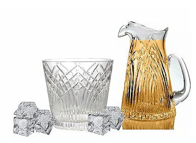 GAC Mouth Blown Crystal Glass Ice Bucket, Suitable for Barware, Capacity of 56oz