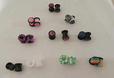 10 Pair Single Double Flare Screw Fit Plugs Tunnels 0 Gauge 0g Lot