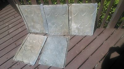 """5 Vintage Fish Scale Tin Roofing Shingles/Sheets 22.75"""" x 16.5"""" Tin-Roof-Rusty!"""