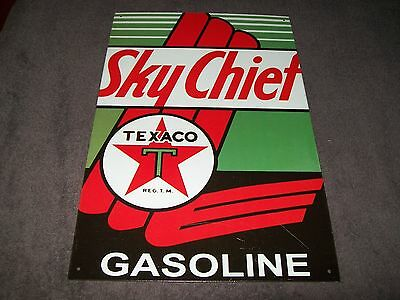 RETRO STYLE TEXACO SKY CHIEF GASOLINE METAL SIGN - 10.25 x 16