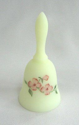 Vintage Fenton Yellow Glass Bell Hand Painted Designer S. Bryan