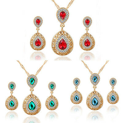 1Set Jewelry Fashion Women Crystal Rhinestone Gold Chain Pendant Necklace 3Color