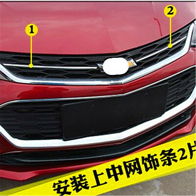2 Pcs For 2017 Chevrolet Cruze Stainless The Front Hood Cover Grill Molding Trim
