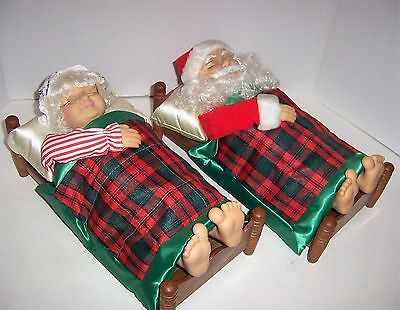 "TELCO 13"" Mr. & Mrs. Santa Claus Musical Snoring Sleeping Christmas Jingle Bells"