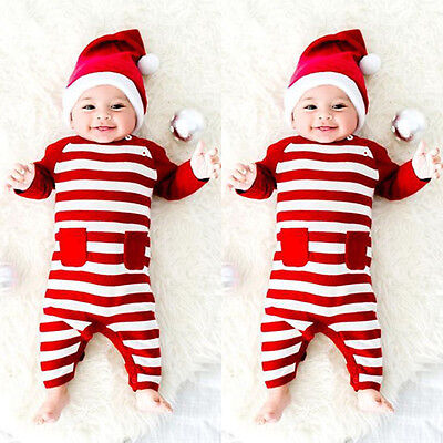 Newborn Baby Boy Girl Striped Xmas Romper Bodysuit Jumpsuit Outfits Clothes g