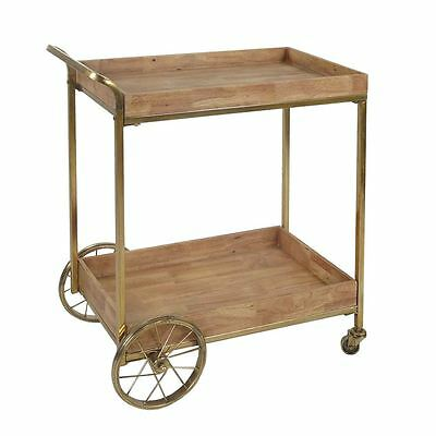 LUXE DRINKS BAR CART Drinks Wood Iron Gold Serving Tea Trolley