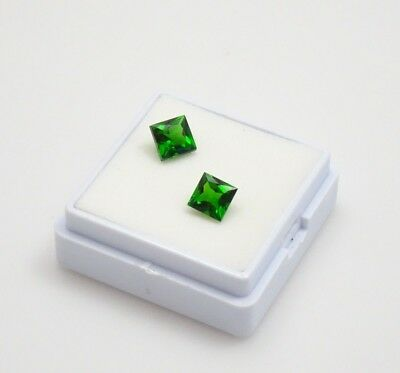 Pair of Russian Chrome Diopside Princess Cut 1.20CTW - 5x5mm - Loose Gemstones