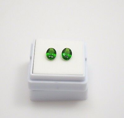Pair of Russian Chrome Diopside 1.50 TCW - Oval - 7x5mm - Loose Gemstones
