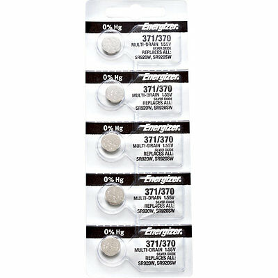 5 x Energizer 371 Watch Batteries, 0% MERCURY equivilate SR920SW