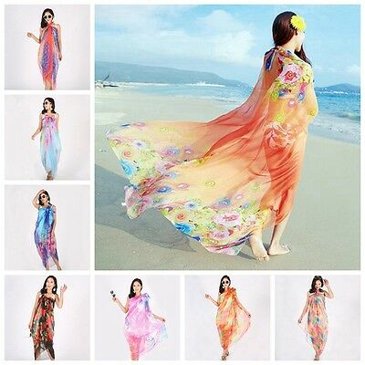 Women Chiffon Beach Bikini Cover Up Wrap Scarf Pareo Swimwear Sarong Dress 1.5*2
