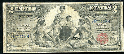 """Fr. 248 1896 $2 Two Dollars """"Educational"""" Silver Certificate Very Fine"""