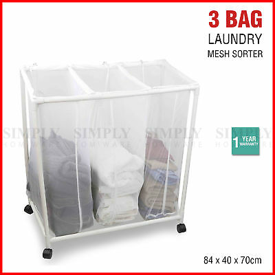 Laundry Sorter Basket Hamper Bag 3 Bag Clothes Trolley Triple Mesh Tub Divided