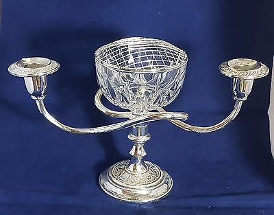 Beautiful Rose Bowl and Candle Holders With Silver Plated Stand