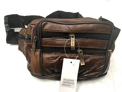 Leather Waist Pouch Bum Bag Travel Sport Bag With 7 Pockets Brown (p3) new
