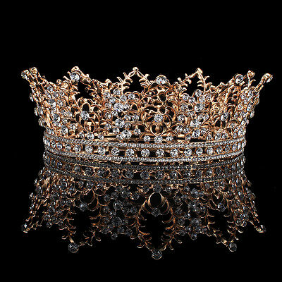 Prom Gold King Queen Crystal Tiaras Headband Wedding Party Rhinestone Full Crown