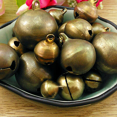Vintage Bronze Metal Christmas Jingle Bells Charms for Festival Decoration Intri