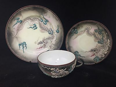 3pc High Quality Japanese Dragonware Moriage Tea Cup Saucer Plate Set Trio