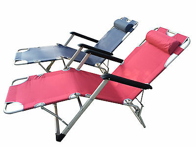 Outdoor Potable Folding Luxury Chair Pipe Pool /Beach /Home Recliner with Pillow